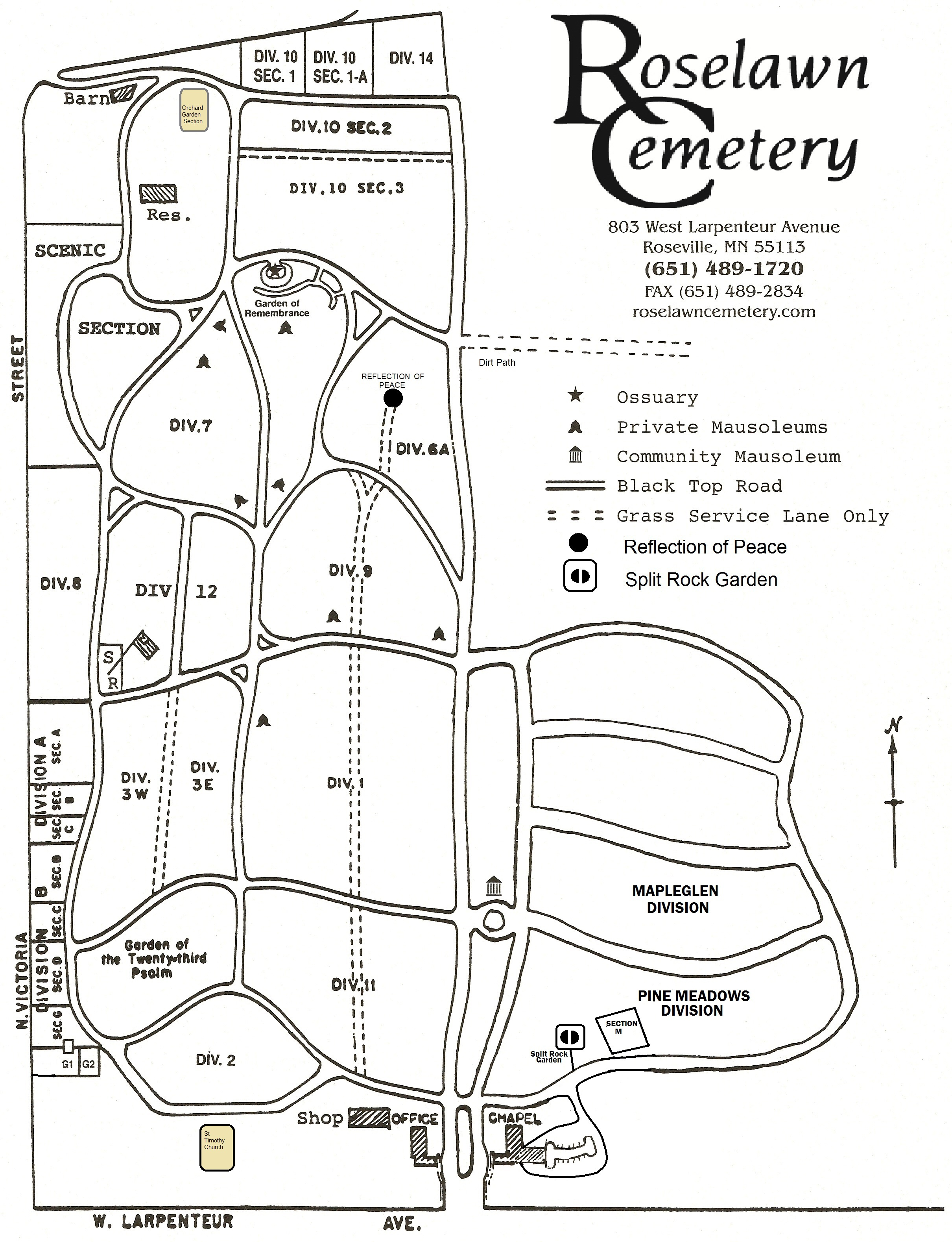 Burial Maps & Lot Ownership Locations | Roselawn Cemetery on